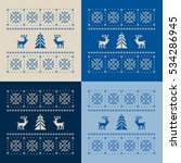 christmas set of 4 cards.... | Shutterstock . vector #534286945
