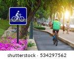 bike lane and bike sign in... | Shutterstock . vector #534297562