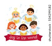little kids in angel costumes... | Shutterstock .eps vector #534299182