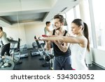 view at young woman in gym... | Shutterstock . vector #534303052
