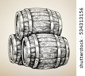 vector hand drawing wood barrel ... | Shutterstock .eps vector #534313156