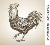 handmade vector drawing rooster ... | Shutterstock .eps vector #534313432