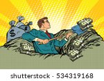 retro businessman digs up money ... | Shutterstock . vector #534319168