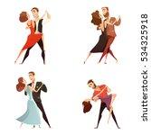 Dance Pair Retro Cartoon Set Of ...