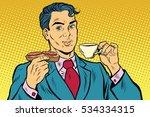 retro businessman eating...   Shutterstock . vector #534334315