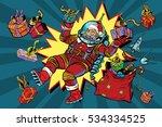 space santa claus in zero... | Shutterstock . vector #534334525