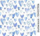 blue hearts pattern. happy... | Shutterstock . vector #534337906