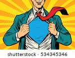 super hero male businessman pop ... | Shutterstock . vector #534345346
