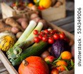 fresh vegetables in boxes ... | Shutterstock . vector #534349006