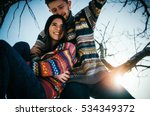 joyful cute couple embraces.... | Shutterstock . vector #534349372