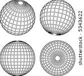set of wireframe globes spheres | Shutterstock .eps vector #5343622