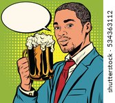elegant black man with a beer... | Shutterstock . vector #534363112