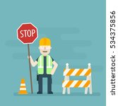 road worker holding stop sign.... | Shutterstock .eps vector #534375856
