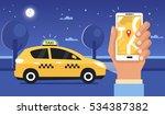 taxi at night concept. man...