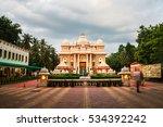 Sri Ramakrishna Math historical building in Chennai, Tamil Nadu, India in the evening with cloudy sky