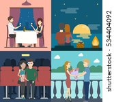 romantic dating set. sunset and ... | Shutterstock .eps vector #534404092