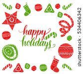 vector happy holidays lettering ... | Shutterstock .eps vector #534406342