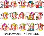 girl expression set | Shutterstock .eps vector #534413332