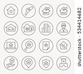 real estate thin line icon set | Shutterstock .eps vector #534414682