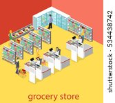 isometric interior of grocery... | Shutterstock .eps vector #534438742