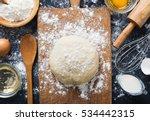 baking ingredients. bowl  eggs  ... | Shutterstock . vector #534442315