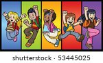 five cool cartoon kids jumping. ... | Shutterstock .eps vector #53445025