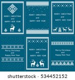 christmas set of 6 vertical... | Shutterstock . vector #534452152