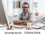 great working day  handsome... | Shutterstock . vector #534461446