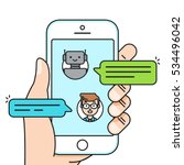 Chatbot Concept. Man Chatting...