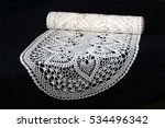 White Oval Knitted Doily On...