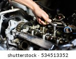 hand with wrench. mechanic.... | Shutterstock . vector #534513352