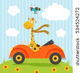 giraffe and bird go by car  ... | Shutterstock .eps vector #534524272