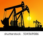silhouette of working oil pumps ... | Shutterstock .eps vector #534569086
