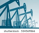 silhouette of working oil pumps ... | Shutterstock .eps vector #534569866