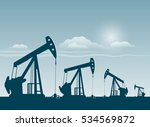 silhouette of working oil pumps ...   Shutterstock .eps vector #534569872