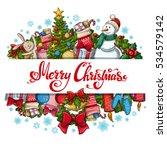 template with christmas icons... | Shutterstock .eps vector #534579142