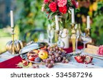 exotic fruits and a flowers at... | Shutterstock . vector #534587296