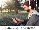 profile of man in headphones... | Shutterstock . vector #534587986