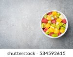 Fresh Fruit Salad On Gray Stone ...