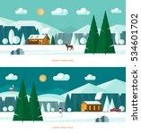 winter landscape banners. snowy ... | Shutterstock .eps vector #534601702