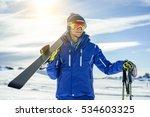 skier watching the horizon... | Shutterstock . vector #534603325