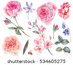 spring set vintage watercolor... | Shutterstock . vector #534605275