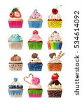 vector set of icons sweets. | Shutterstock .eps vector #534614092