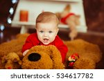 baby with a funny expression on ... | Shutterstock . vector #534617782