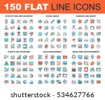 vector set of 150 flat line web ... | Shutterstock .eps vector #534627766