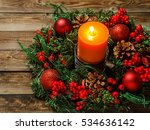 Advent Wreath With Candle On...