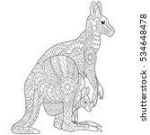 stylized australian kangaroo... | Shutterstock .eps vector #534648478