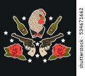 hen  gun and roses. print on... | Shutterstock .eps vector #534671662