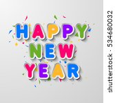 vector happy new year card with ... | Shutterstock .eps vector #534680032