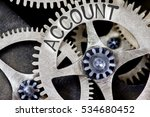 Small photo of Macro photo of tooth wheel mechanism with ACCOUNT concept letters